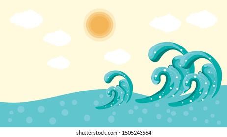 Ocean scene with waves background Vector