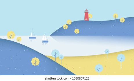 Ocean scenery landscape, lighthouse on the hill and sail boats in ocean surrounded by mountains