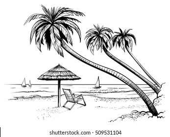 Ocean or sea beach with palms, sketch. Black and white vector illustration of sea shore with umbrella, chaise longue and yachts. Hand drawn seaside view.