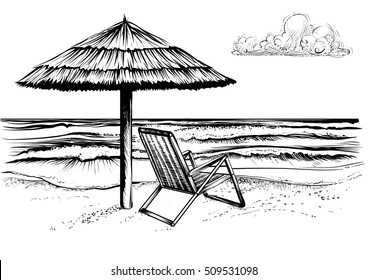 Ocean or sea beach with waves, sketch. Black and white vector illustration of sea shore with umbrella and chaise longue. Hand drawn seaside view with parasol and deckchair.