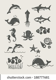 Ocean and sea fishes.Set of simple icons Eps8 vector illustration