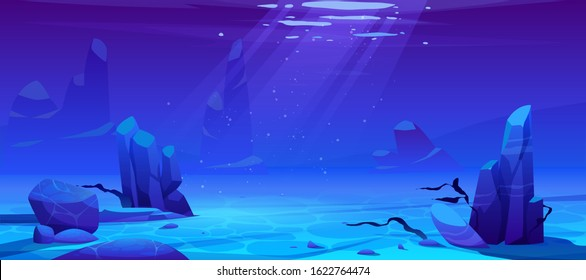 Ocean or sea underwater background. Empty sandy bottom with seaweeds grow at rocks and air bubbles floating at sunlight beam falling from above. Marine scene, undersea life Cartoon vector illustration