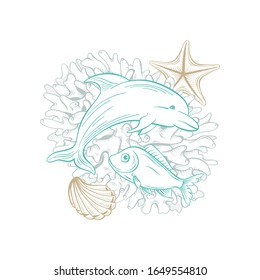 Ocean and sea vector line art, dolphin fish, seashell and starfish in coral reef. Golden sketch line drawing and hatching style marine underwater design, nautical artwork and undersea decoration