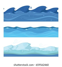 Ocean or sea water waves. Vector set of horisontal seamless patterns for ui games