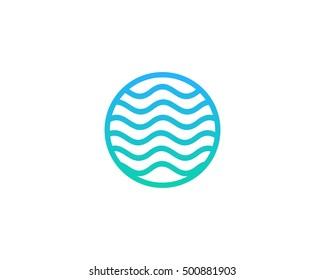 Ocean Sea Wave Logo Design Template
