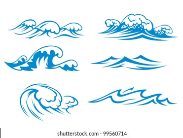 Ocean and sea waves set for design, such  a logo. Jpeg version also available in gallery