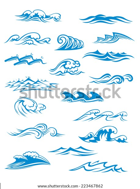Ocean or sea waves, surf and splashes set curling and breaking in a pretty turquoise blue for marine and nautical themed concepts, vector illustration on white