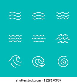Ocean, sea waves vector illustration flat simple lines, icons, symbols set
