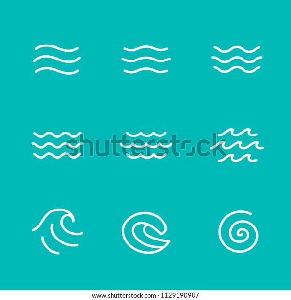 Ocean, sea waves vector illustration flat simple lines, icons, symbols set