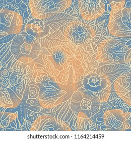 Ocean seamless pattern on blue ochre background with sea plants anemones starfishes algae shells and sea sponges. Gentle pastel colors good for bathroom, bedroom interior or seafood product design.