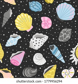 Ocean seashells seamless pattern. Cartoon sea objects, hand drawn colorful shells for decoration, elements of concept of ocean treasure, vector illustration marine shell background