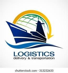Ocean Ship and globe logo design,Vector logo template