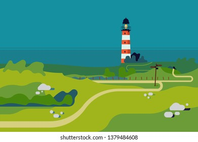 Ocean shore with lighthouse landscape background in trendy flat design. Green meadows scenery with lighthouse and sea in the distance. Ideal as travel, outdoor recreation activities banner