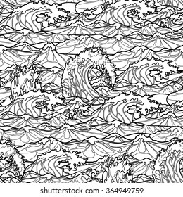 Ocean storm waves seamless pattern drawn in line art style. Tsunami. Coloring book page design for adults and kids