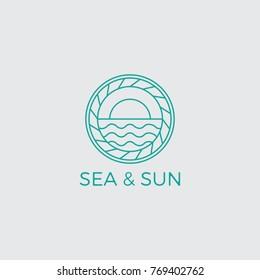 Ocean Sun Wave Logo Design Template
