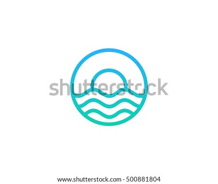 ocean sun wave logo design template stock vector royalty free