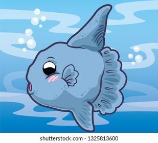 Ocean sunfish cartoon, cute animal, cute cartoon