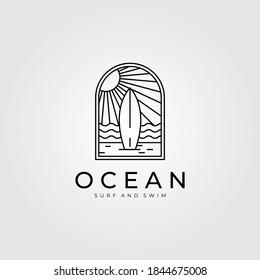 ocean surf line art logo vector illustration design, beach logo design