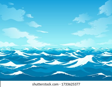 Ocean surface. Sea vector illustration with water waves, blue sky and white clouds graphics, cartoon seascape or waterscape