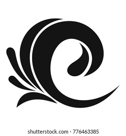 Ocean swirl wave tsunami icon. Simple illustration of ocean swirl wave tsunami vector icon for web
