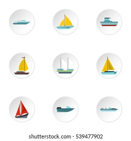 Ocean transport icons set. Flat illustration of 9 ocean transport vector icons for web