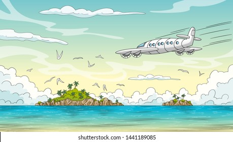 Ocean with two islands and airplane. Hand draw vector illustration with separate layers.