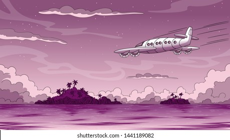 Ocean with two islands and airplane at night. Hand draw vector illustration with separate layers.