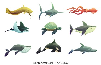 Ocean underwater animals cartoon retro characters set with stingray shark turtle swordfish and squid fish isolated vector illustration