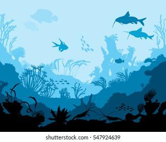 Ocean underwater world with animals, vector illustration