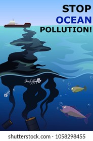 Ocean water pollution by oil. Vector illustration. A4 EPS 10.