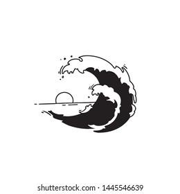Ocean wave, logo design, vector illustration