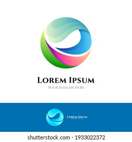 Ocean wave logo template with gradient color