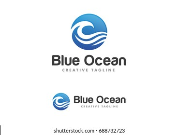 Ocean Wave Logo Template Vector