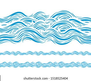 Ocean Wave Pattern Isolated on White. Marine Decorative Abstract Design. Water Background. Vector Illustrations.