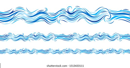 Ocean Wave Seamless Pattern Isolated on White. Marine Decorative Abstract Design. Water Background. Vector Illustrations.