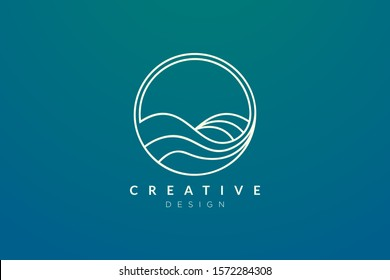 Ocean waves in a circle. Minimalistic and simple vector design