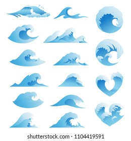 Ocean waves collection. Sea storm wave isolated. Waves, water elements set. Nature wave water storm linear style illustration