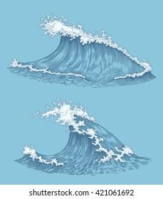 Ocean waves. Design set. Hand drawn engraving. Vector vintage illustration. Isolated on color background. 8 EPS