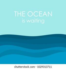 Ocean waves illustration. Vector background