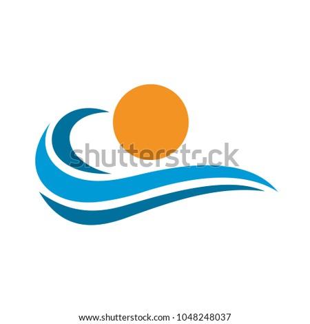 ocean waves logo template stock vector royalty free 1048248037