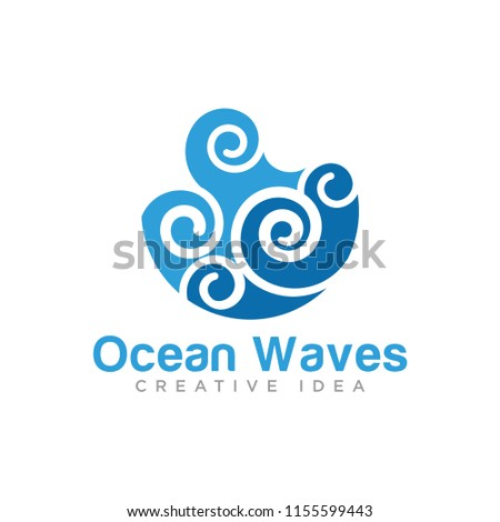 ocean waves logo template stock vector royalty free 1155599443