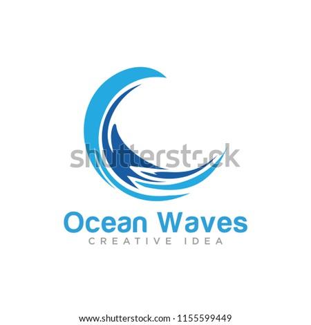 ocean waves logo template stock vector royalty free 1155599449