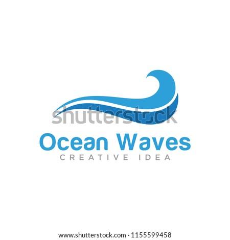 ocean waves logo template stock vector royalty free 1155599458