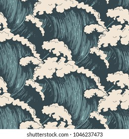 Ocean waves seamless pattern. Sea wave blue background, wind storm surf water hand drawn vector illustration