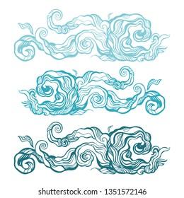 Ocean waves set, isolated on white background, vector illustration. Elegant Hand Drawn pattern