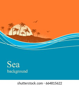 Ocean waves and tropical island.Vector horizon background for text