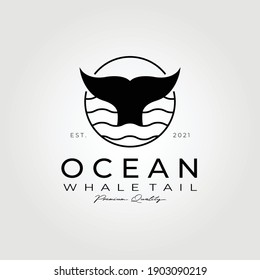 Ocean whale tail logo vector illustration design , whale logo