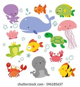 Ocean wildlife character design