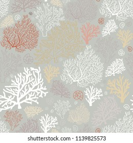 Ocean world seamless pattern with corals and shells. Stock vector