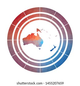 Oceania badge. Bright gradient logo of continent in low poly style. Multicolored Oceania rounded sign with map in geometric style for your infographics.